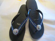 1cbd1aeb8 Items similar to Black Havaianas Flip Flop with Crystal & Sapphire Blue Swarovski  Crystals with Baseball Filigree on Etsy