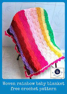 Woven rainbow baby blanket #freecrochetpattern #babyblanket