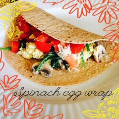 Spinach Egg Wrap! (Inspired by @fitgirlsguide #28dayjumpstart) Under 300 calories! 1 egg, scrambles Sliced mushrooms Handful of spinach  1 Mission whole wheat tortilla (130 cals.) Diced tomatoes Mozzarella cheese (go easy on it!) Enjoy! Follow me on instagram: @fitgirl_shelby and make sure you check out @fitgirlsguide  fitgirl_shelby's photo on Instagram