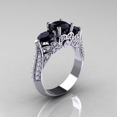 Classic 18K White Gold Three Stone Black and White by artmasters, $1499.00