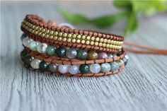 Indian Agate Leather Wrap Bracelet