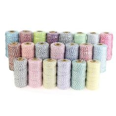 3Ply Cotton Bakers Twine 109 Yard Spool Roll 1.2Mm String 21 Divine Colours