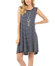 Look what I found on #zulily! White & Navy Thin-Stripe Hi-Low Tank Dress #zulilyfinds
