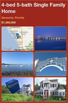 4-bed 5-bath Single Family Home in Sarasota, Florida ►$1,395,000 #PropertyForSale #RealEstate #Florida http://florida-magic.com/properties/1463-single-family-home-for-sale-in-sarasota-florida-with-4-bedroom-5-bathroom