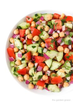Ultimate Greek Chopped Salad! LOVE this salad! Crisp and refreshing with a protein boost and easy red wine vinegar-oregano dressing #vegan #salad #healthy
