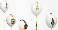 Fun way to showcase headphones.    headphones on balloons.  The Cool Hunter - Gadgets