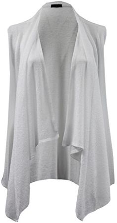 Plus Size Womens Sleeveless Open Front Cardigan Knit Vest Top Sweater White 1X 16033 * More info could be found at the image url. (This is an affiliate link)