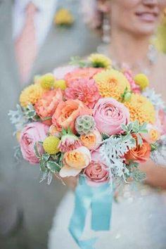 pastel bouquet-dahlia, ranunculus, roses, dusty miller, etc // wedding