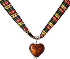 Topaz Heart Necklace Buchanan Tartan Ribbon - Crafted in Scotland