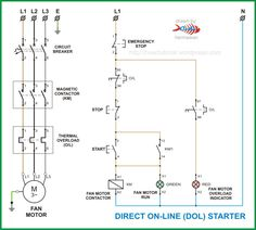 on off three phase motor connection power control diagrams rh pinterest com electrical circuit diagram control electrical diagram motor control