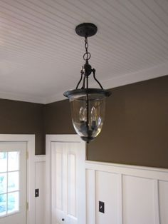 Great idea for adding a touch of character to the kitchen ceiling. Use bead board wall paper?