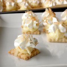 Bite-Size Coconut Cream Pie..or u could do this with any type pie...bake pumpkin filling without crust,chill & scoop onto crust with whip cream & spinkle of cinnamon..yum