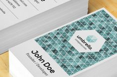 A classic vertical business card design with great geometric design features to make your business card unique and striking. Easily change...