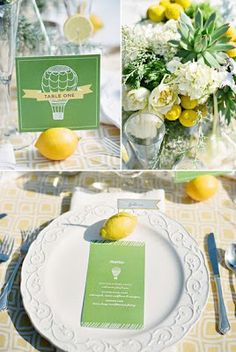 lemons used as escort cards and table number holders - great for a summer wedding