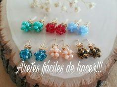 ARETES FACIL Y RAPIDO DE HACER! Con Cecy Love Bisuteria - YouTube Beading Projects, Beading Tutorials, Earrings Handmade, Handmade Jewelry, Beaded Jewelry Patterns, Earring Tutorial, Bead Earrings, Jewelry Crafts, Beaded Bead