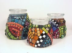 Items similar to MOSAIC cannisters-jars -- SET of 3 JARS, graduated sizes, mosaicked, with vacuum lids (suitable for use as cannisters) on E. Mosaic Bottles, Mosaic Vase, Mosaic Flower Pots, Mosaic Diy, Mosaic Crafts, Mosaic Projects, Mosaic Designs, Mosaic Patterns, Bottles And Jars