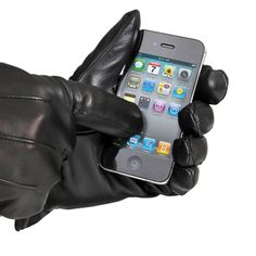 The Touchscreen Leather Gloves (Men's) - Hammacher Schlemmer