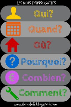 """Oooh! Love this sign for question words, a.k.a. """"les mots interrogatifs"""""""