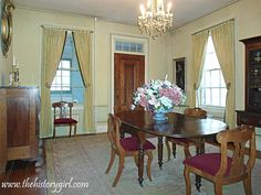 The dining room of the 1845 Doric House in Flemington. The home is headquarters to the Hunterdon County Historical Society. The home was built in the Greek Revival style by Mahlon Fisher, an architect/builder of the time, whose work can be seen at three other buildings in Flemington. Throughout its history, this building served as an Odd Fellow Hall, restaurant, and was used by a church before being purchased in 1969 by the Society and restored. Discover more history @ www.thehistorygirl.com