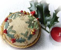 """Gold Holy and Mistletoe"" pin cushion by Lorna Bateman"