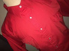 Vintage Sheplers Western S/S Red Pearl Snap Shirt Size 17 1/2 Rockabilly XXL 2XL #Sheplers #Western