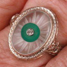 Art Deco filigree camphor glass Diamond