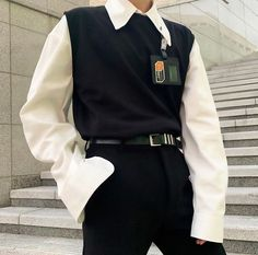 Grunge Outfits, Edgy Outfits, Cute Casual Outfits, Korean Outfits, Retro Outfits, Fashion Outfits, Vest Outfits, Korean Fashion Men, Korean Street Fashion