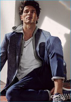 Andres Velencoso Segura combines casual and tailored fashions for an easy style moment from Massimo Dutti.
