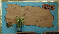 Could use this as a motivational board! Students get to move their piece toward the treasure after each day without losing their Merit award - Beach/Ocean Themed Classroom Class Decoration, School Decorations, School Themes, School Fun, School Stuff, School Ideas, School Displays, Classroom Displays, Classroom Themes
