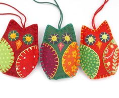 Colorful felt owl Christmas ornaments