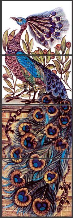 William De Morgan Peacock and Salamander panel, WilliamMorrisTile.com