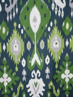 Emerald Green Navy and Gray Ikat Print Pure by fabricsandtrimmings