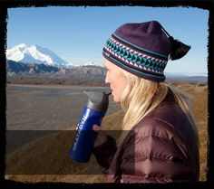 Katadyn MyBottle being used in front of Denali, Alaska