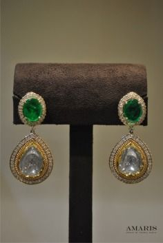 Amaris Jewels , Prerna Rajpal , Earring , Heavy Earring , Statement , Diamond , Solitaire , Emerald , Green Stone , Topaz , Elegant , Reception , Sangeet , Cocktail , Mother of the bride/groom , sister of the bride/groom , cousin of the bride/groom ,