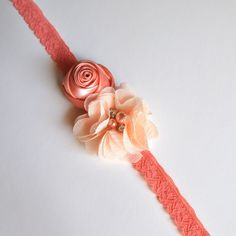 Peach lace and  blossoms headband. Ivory or by TutusChicBoutique, $14.50