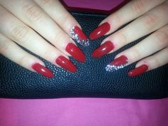 Big Red Sparkling nails !