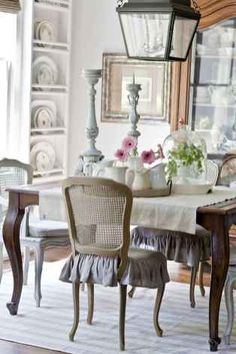 Check my site shabby chic dining room decor Shabby Chic Dining Room, French Country Dining Room, Dining Room Table Decor, French Country Kitchens, French Country Bedrooms, Country Farmhouse Decor, French Country Decorating, Dining Room Design, Country French