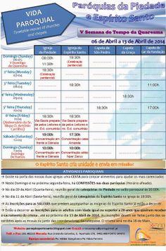 PARÓQUIAS DO PORTO SANTO: Horário das Paróquias 06 a 13 de Abril