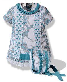 Vestido con capota para niña en pique estampado