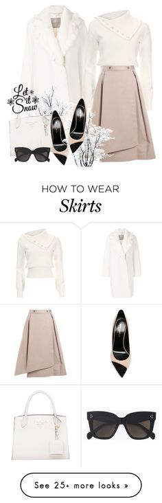 """Winter White"" by elly-852 on Polyvore featuring Ermanno Scervino, Adeam, Jil Sander Navy, CÉLINE, Yves Saint Laurent, Winter, outfit and white"