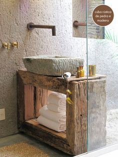 10 Lovely Bathroom with Some Rustic Decor Inspiration- 10 Lovely Bathroom with Some Rustic Decor Inspiration Kenoa Resort : A Private Sanctuary of Tranquility, Brazil – Wabi Sabi bathroom with stone sink, rough wood vanity, and industrial hardware - Bad Inspiration, Bathroom Inspiration, Bathroom Ideas, Bathroom Sinks, Bathroom Designs, Natural Bathroom, Stone Bathroom, Earthy Bathroom, Narrow Bathroom