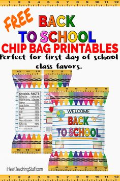 Grab these FREE back to school chip bag printables perfect for class favors Back To School Gifts For Kids, Back To School Party, Welcome Back To School, Back To School Teacher, Beginning Of School, School Parties, School Fun, School Stuff, School Days