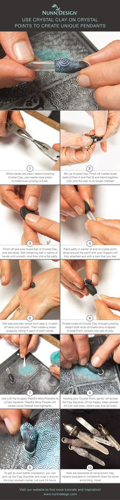 How to use Crystal Clay on Crystal Points to Create Unique Pendants Tutorial + Video - Nunn Design - This tutorial is the result of a design challenge I provided myself after accumulating enough stran - Do It Yourself Jewelry, Do It Yourself Fashion, Polymer Clay Projects, Polymer Clay Beads, Polymer Clay Tutorials, Clay Crafts, Video Fimo, Metal Clay Jewelry, Homemade Jewelry