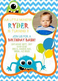 Boy Birthday Monster Invitation with by SassyGraphicsDesigns
