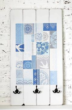 Vešiak EVANGELINA PATCHWORK M by bySue - SAShE.sk - Handmade Nábytok Annie Sloan, Washi, Ale, Office Supplies, Quilts, Blanket, Handmade, Painting, Leather