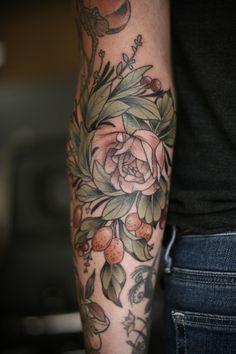 Tattoo Portfolio - tattoos by kirsten holliday Make Tattoo, Tatoo Art, Color Tattoo, Joy Tattoo, Elbow Tattoos, Sexy Tattoos, Sleeve Tattoos, Tatoos, Herb Tattoo
