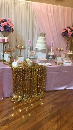 My baby girl's pink sweets table on her Christening Shower Party, Baby Shower Parties, Baby Shower Themes, Baby Shower Decorations, Bridal Shower, Shower Ideas, Dessert Table Birthday, Birthday Party Decorations, Birthday Parties