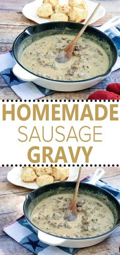 This Homemade Sausage Gravy Recipe from All She Cooks make cooking breakfast fro… This Homemade Sausage Gravy Recipe from All She Cooks make cooking breakfast from scratch completely doable. Home-style Sausage Gravy is a delicious start to the day. Homemade Breakfast, Delicious Breakfast Recipes, Brunch Recipes, Breakfast Cooking, Drink Recipes, Breakfast Ideas, Delicious Food, Dessert Recipes, Homemade Sausage Gravy
