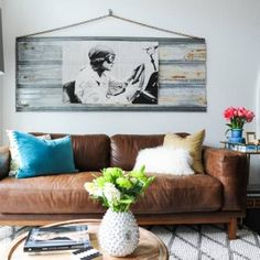 51+ Apartment Decorating Living room Ideas and Inspiration - Small brown couch living room by Oliver Simon Design