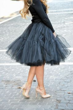 Blueish grey tulle